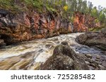 red cliff  stone wall  forest ... | Shutterstock . vector #725285482