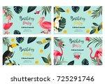 4 tropical hawaiian posters... | Shutterstock .eps vector #725291746