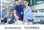 in the electronics store... | Shutterstock . vector #725298802