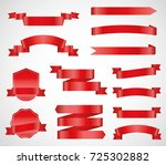 vector ribbons banners flat... | Shutterstock .eps vector #725302882