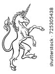 a unicorn rampant standing from ...   Shutterstock .eps vector #725305438
