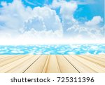 wood table top on blur... | Shutterstock . vector #725311396