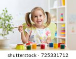 cute child girl painting... | Shutterstock . vector #725331712