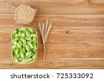 fresh green hops in basket and... | Shutterstock . vector #725333092