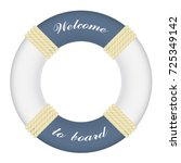 big marine lifebuoy ring with... | Shutterstock .eps vector #725349142