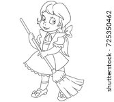 coloring page of cartoon young... | Shutterstock .eps vector #725350462