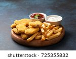 chicken nuggets and french...   Shutterstock . vector #725355832