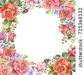 flowers frame.watercolor | Shutterstock . vector #725368132