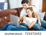 young couple together man and... | Shutterstock . vector #725372452