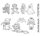 halloween ghost cartoon cute  | Shutterstock .eps vector #725378536
