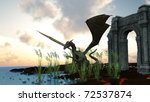 dragon and ruins   Shutterstock . vector #72537874