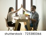 team building exercise. man and ... | Shutterstock . vector #725380366