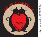 valentine card with two black... | Shutterstock . vector #72538234