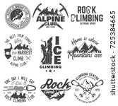 set of rock climbing club... | Shutterstock .eps vector #725384665