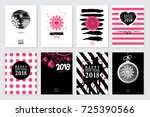 2018 set of happy new year card ... | Shutterstock .eps vector #725390566
