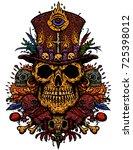 the voodoo character is the... | Shutterstock .eps vector #725398012