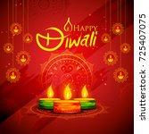 illustration of burning diya on ... | Shutterstock .eps vector #725407075