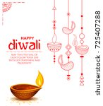 illustration of burning diya on ... | Shutterstock .eps vector #725407288