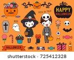 set of happy halloween day with ...   Shutterstock .eps vector #725412328