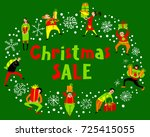 people with christmas gifts.... | Shutterstock .eps vector #725415055