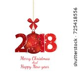 happy new year 2018 | Shutterstock .eps vector #725418556