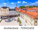 Bratislava, Slovakia. View of the Bratislava castle, main square and the St. Martin