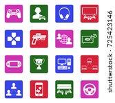 gaming icons. white flat design ...