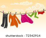 Stock vector colorful clothes drying 72542914