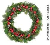 christmas wreath decoration... | Shutterstock . vector #725432566