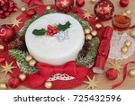 christmas cake with glass of...