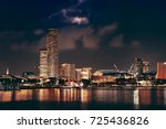 singapore skyline at night with ... | Shutterstock . vector #725436826