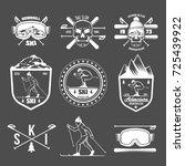 set of vintage skiing labels... | Shutterstock .eps vector #725439922