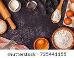 ingredients for baking    flour ... | Shutterstock . vector #725441155