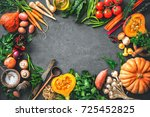 autumn vegetables ingredients... | Shutterstock . vector #725452825