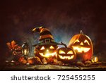 Candle lit halloween pumpkins