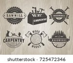 woodwork logos. vector badges... | Shutterstock .eps vector #725472346