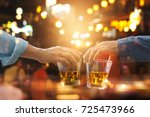 cheers clinking of friends with ... | Shutterstock . vector #725473966