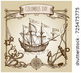 happy columbus day illustration.... | Shutterstock .eps vector #725475775