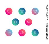 set of 8 zoo outline icons set... | Shutterstock .eps vector #725482342