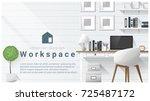 interior design with modern... | Shutterstock .eps vector #725487172