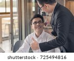 great job  the boss encourages... | Shutterstock . vector #725494816
