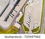 aerial view of warehouse with... | Shutterstock . vector #725497462