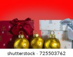 two christmas gifts with three... | Shutterstock . vector #725503762