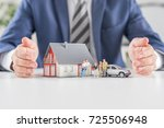 insurance house  car and family ... | Shutterstock . vector #725506948
