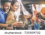 happy young friends having fun... | Shutterstock . vector #725509732