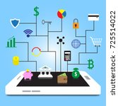 19 fintech colorful icons are... | Shutterstock .eps vector #725514022