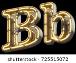 yellow neon sign chrome font.... | Shutterstock . vector #725515072