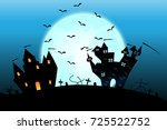 halloween castle on blue moon... | Shutterstock .eps vector #725522752
