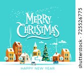 snowy street. urban winter...   Shutterstock .eps vector #725526775