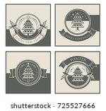 a set of stylish christmas cards | Shutterstock .eps vector #725527666